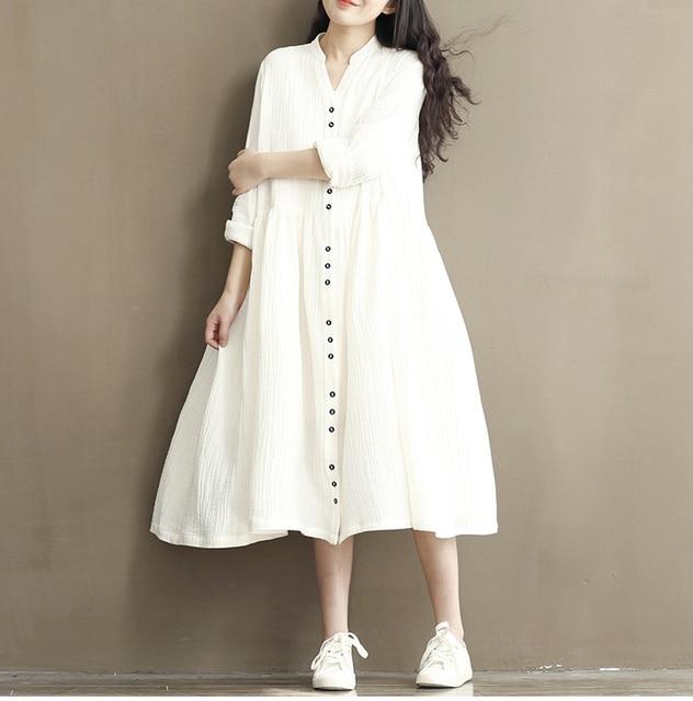f0316abfdb 2018 Autumn Winter Whit Dress Women Plus Size Clothing Cotton Linen Maxi  Dress Novelty Dress Mori Girl Lolita Vestidos De Festa