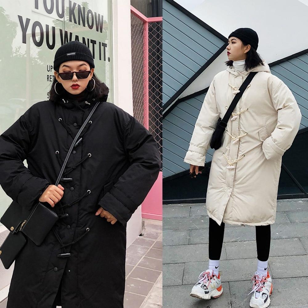 Bouton Long Manteaux Femelle Épaississement style Parkas vert Jasmin Couture Lightcap Boucle Coton D'hiver Mi Chauffage long blanc Noir 6w0q115x