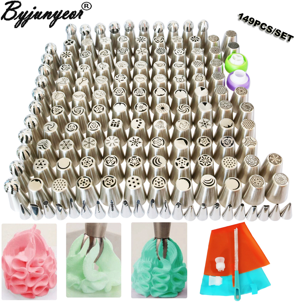 149PCS Stainless Steel Nozzles Pastry Icing Cake Piping Cake Decorating Tools Globular Nozzle 2 Pastry Bags