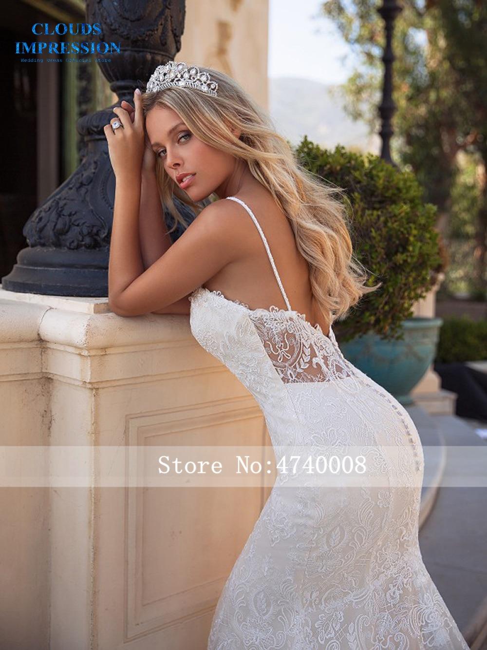 CLOUDS IMPRESSION Sexy Gorgeous Mermaid 2019 Wedding Dress Beading Deep V neck Lace Plus Size Vestige De Noiva Bride Dress-in Wedding Dresses from Weddings & Events    2