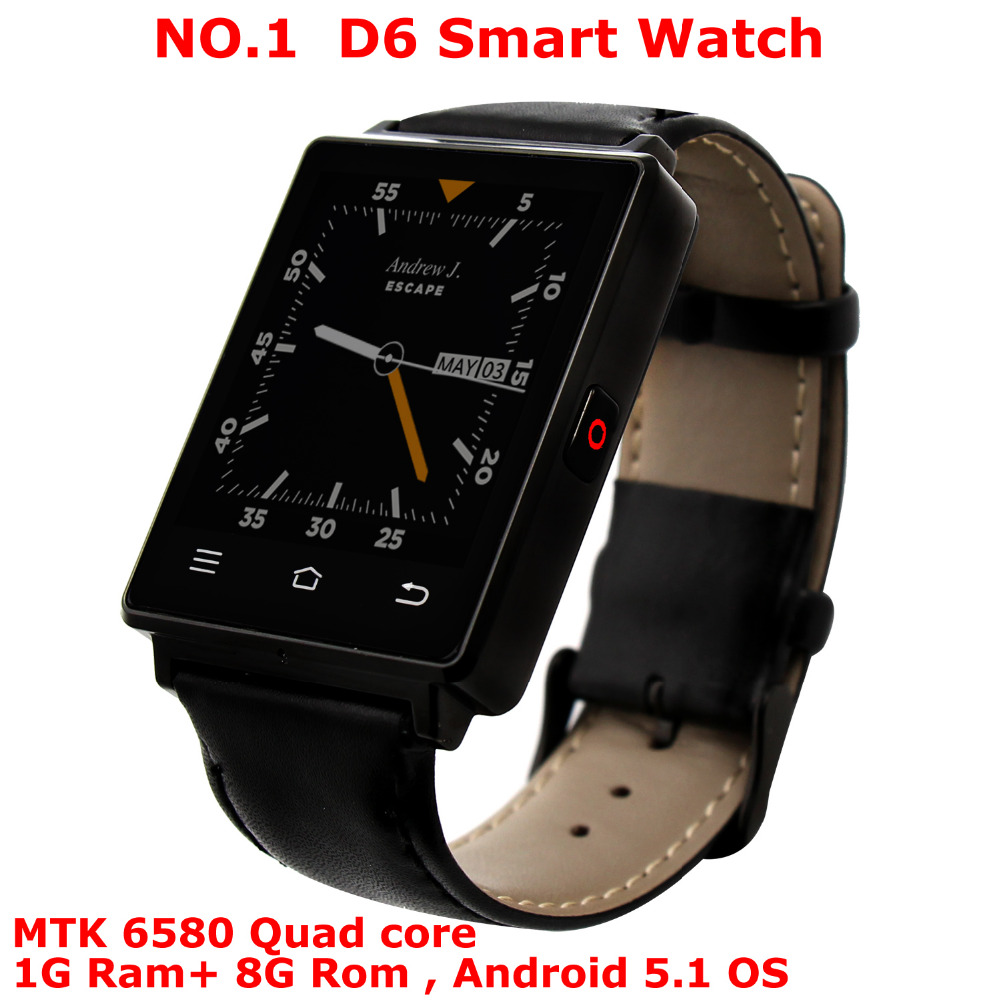 NO.1 D6 Smart watch Phone MTK6580 Quad Core Wristwatch 1GB Ram 8GB Rom Heart Rate Monitor 1.63 inch Android 5.1 3G GPS WiFi цена и фото