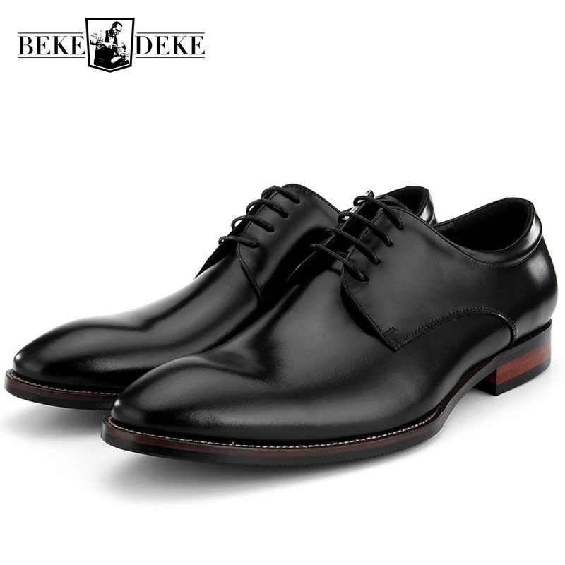 Business High Quality Genuine Leather Mens Footwear Pointed Toe Lace Up Wedding Party Luxury Formal Dress Male Derby Shoes BlackBusiness High Quality Genuine Leather Mens Footwear Pointed Toe Lace Up Wedding Party Luxury Formal Dress Male Derby Shoes Black
