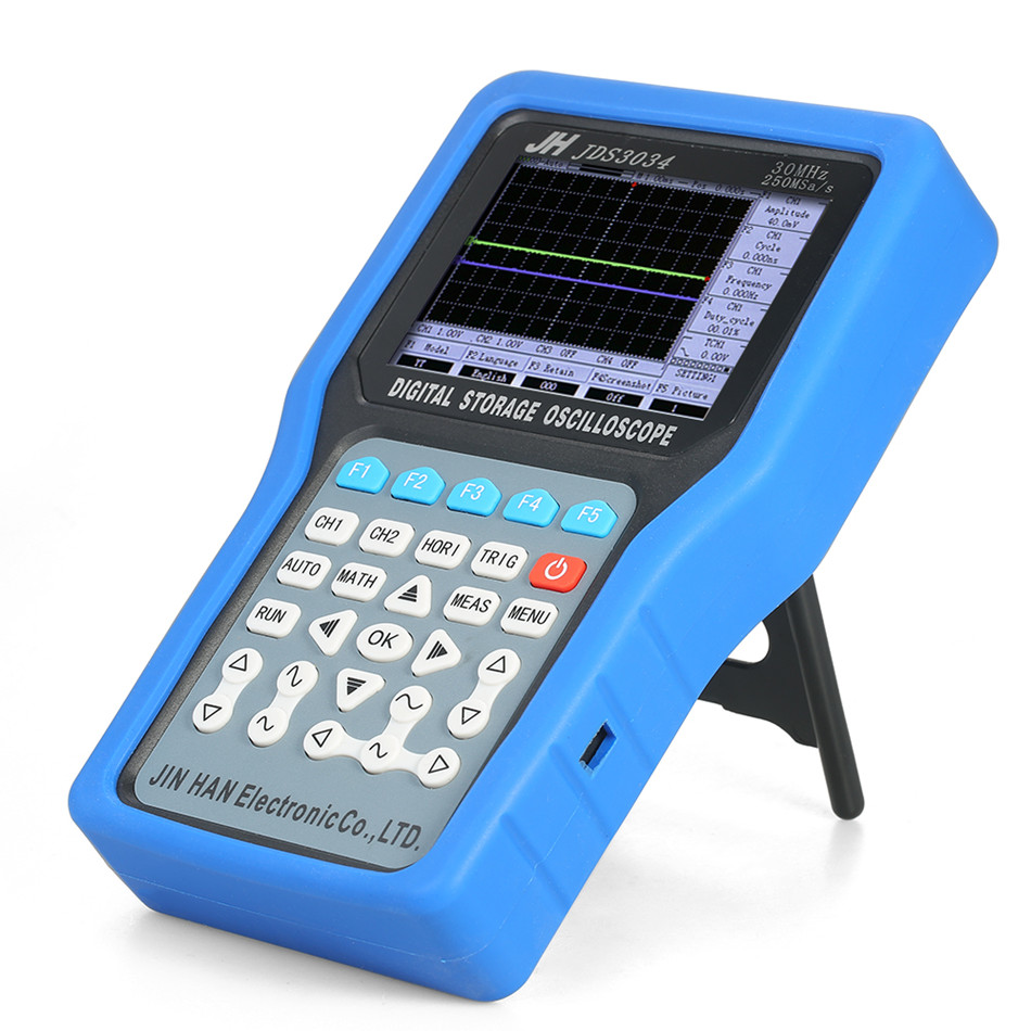 JDS3034 цифровой осциллограф Ручной Osciloscopio Портативный цифровой хранения 4 Каналы Сфера метр 30 мГц 250MSa/s