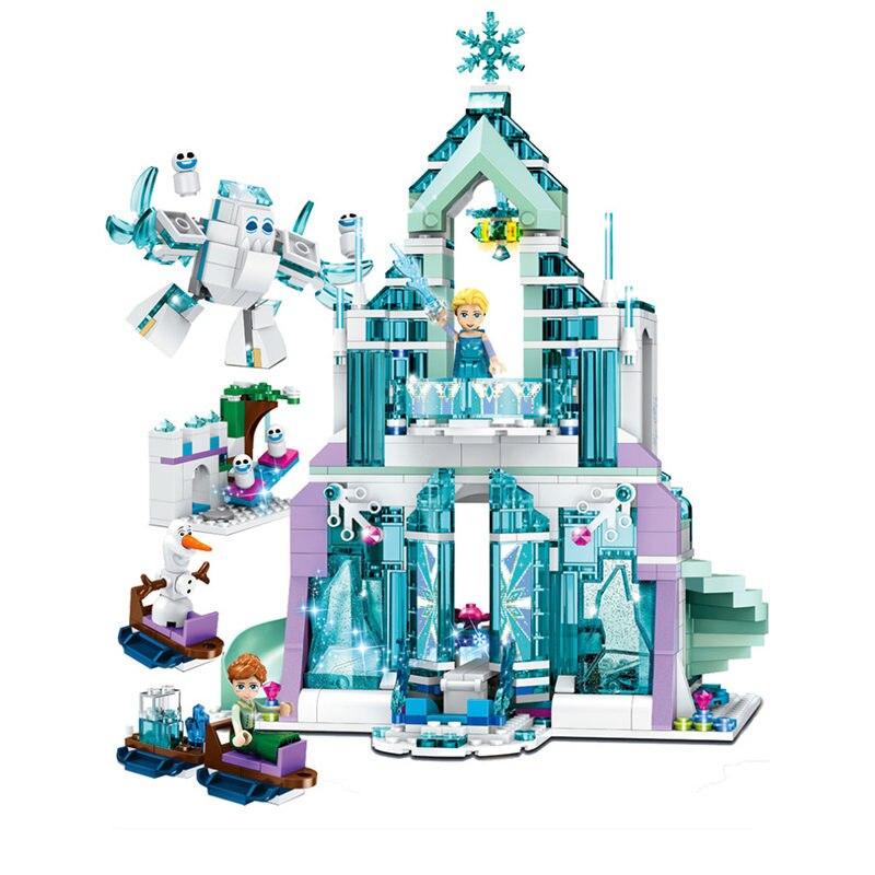 848 Uds Serie Mundial de nieve el castillo mágico de hielo de Elsa juego de bloques de construcción para niñas juguetes para niñas compatibles con 41148 Tren Eléctrico RC tren magnético ranura de fundición de juguete apto para trenes de madera estándar tren de Madera Juguetes para niños para chico