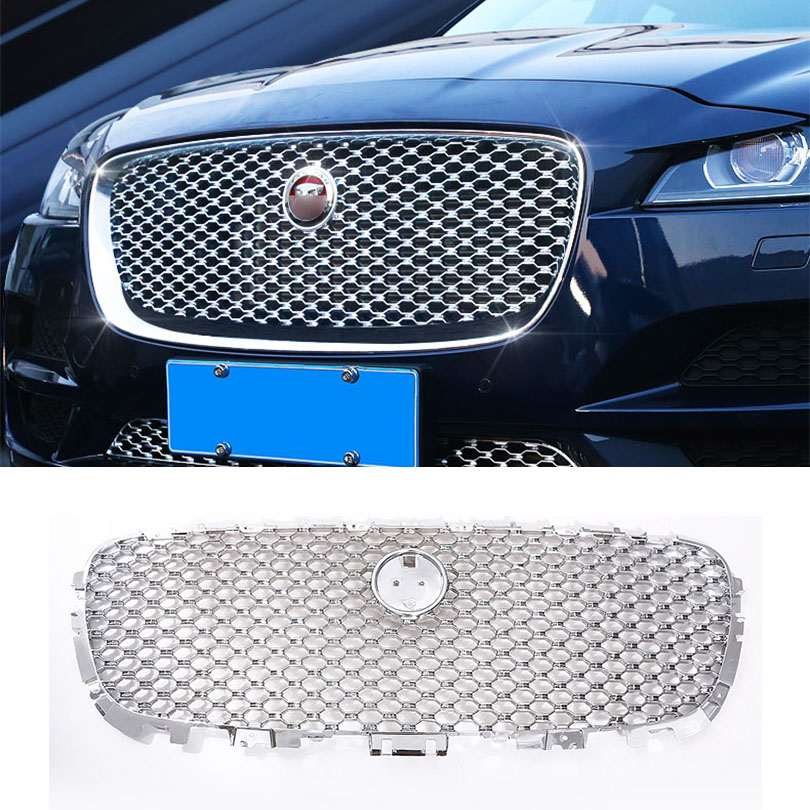 For Jag For F-Pace F Pace X761 2016 2017 2018 Car ABS Chrome Front Grill Cover Trim Auto Replacement Parts 1PC Front Grill Cover