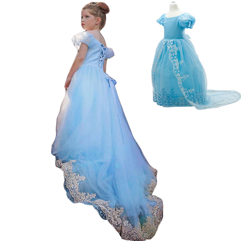 Summer Children Cinderella Princess Dress Wedding Party Dress TuTu Evening Dresses Baby Girls Clothes  4 9 10 Years Kids Clothes girls dress 2017 new summer flower kids party dresses for wedding children s princess girl evening prom toddler beading clothes