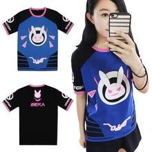 Новая модная футболка с изображением кролика из игры OW D. VA, косплей, Dva, унисекс, футболки с короткими рукавами, летние топы, футболки, костюмы