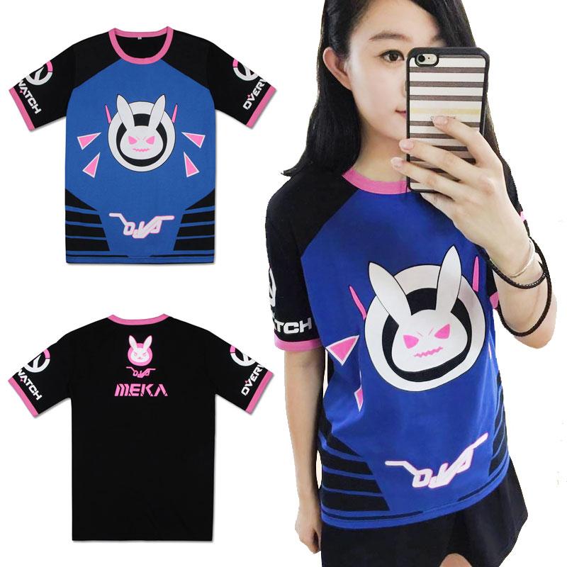 New Fashion T-shirt Game OW D.VA Rabbit Cosplay Dva Unisex Short Sleeve T-shirts Summer Tops Tee Shirt Costumes