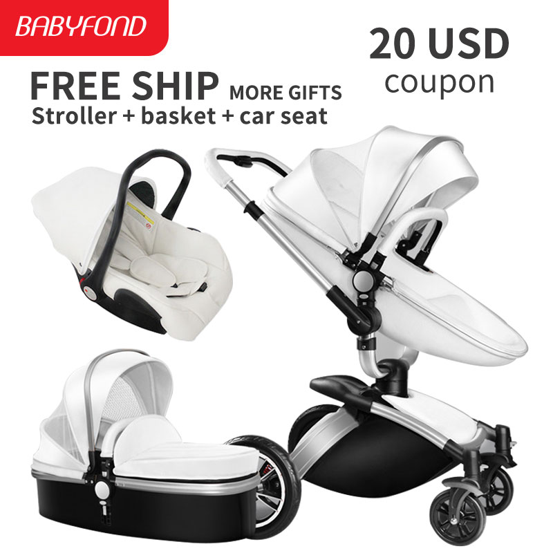 Sliver frame Aiqi Brand Top Sell Baby Strollers 360 Rotate High Quality Leather White Black Color 3 In 1 Carriage many colors lightweight strollers aiqi ultra light white frame good quality baby stroller baby umbrellacar boarding stroller accessories