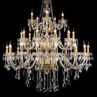 Large 30 pcs chrome candle Led chandeliers clear glass crystal pendants 120cm hotel fixtures Stairwell cristal Lustre Moderno