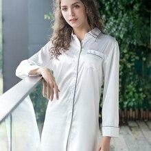 59d497443c MSSNNG White Silk Satin Bridal nightwear Women Bath Nightdress Night Dress