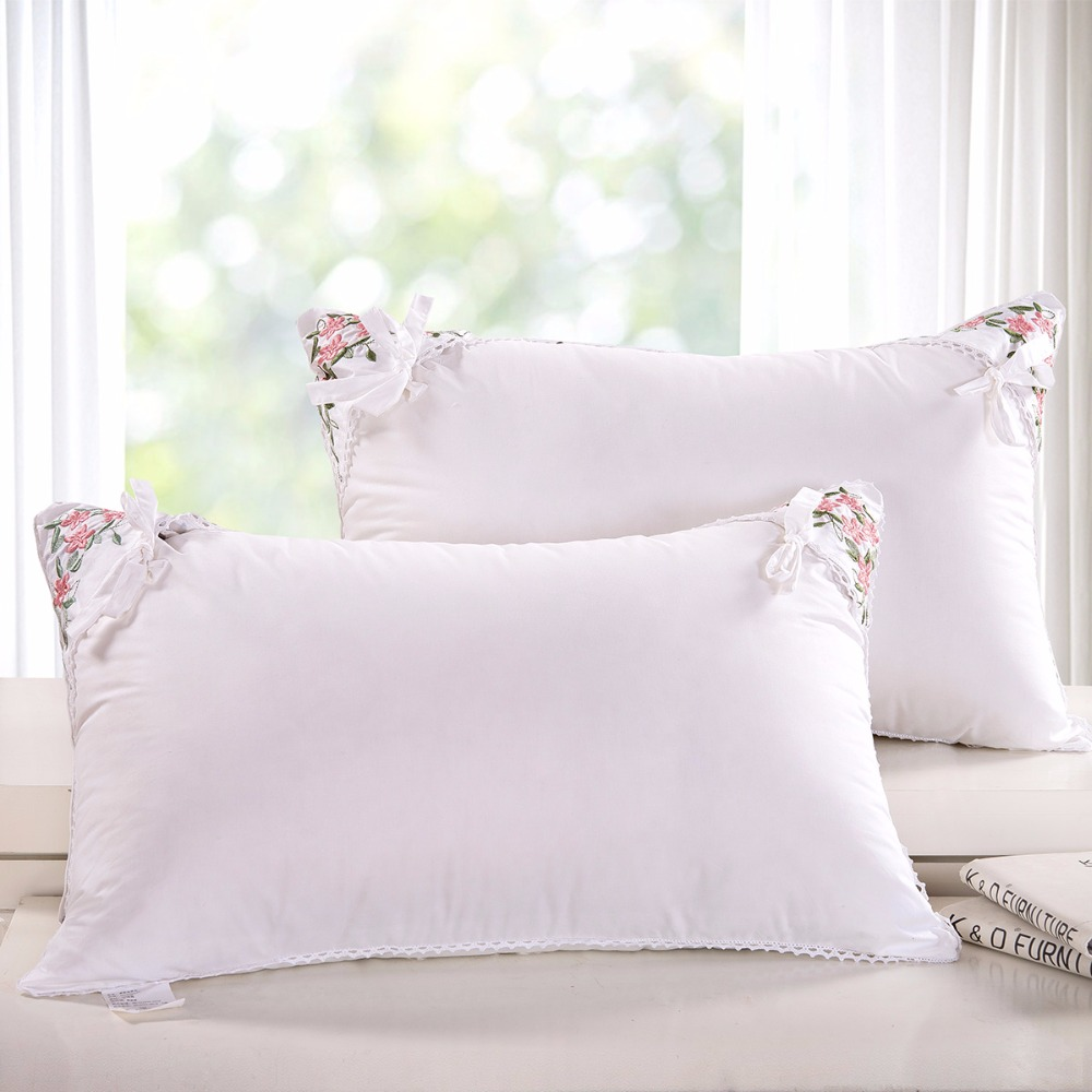 White bed pillows - Sunnyrain 1 Piece Flowers Fragrance White Pillow For Adults Bed Pillow Cotton Shell Cervical Pillows