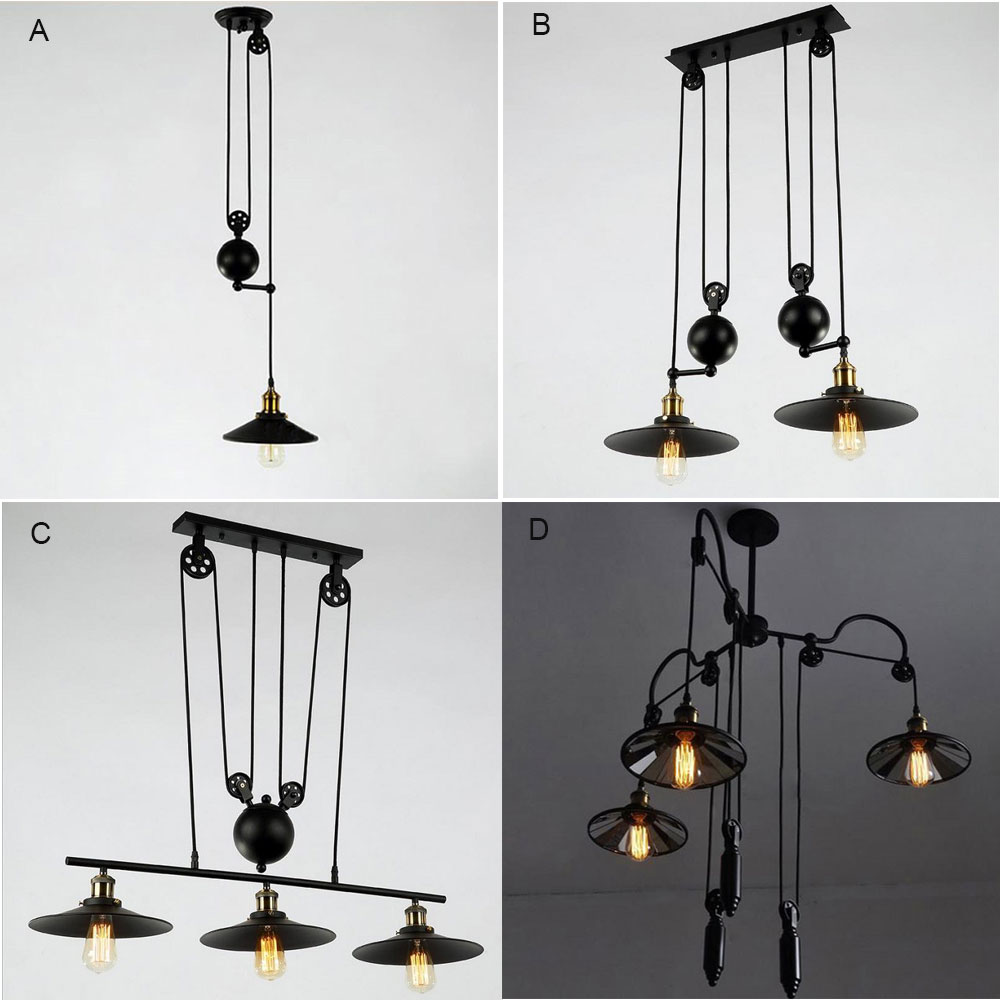Art Desinger Lightings Retro Iron Pulley Chandelier Lights Loft American style Vintage Industrial  Antique Edison hanging Lamps 2016 best quality portable mini cheap video full hd 3d led dlp laser projector with low cost best for home school