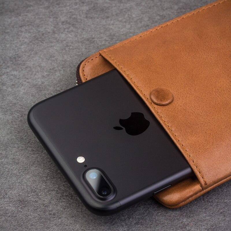 imágenes para QIALINO 2016 Cubierta de La Carpeta para el iphone 7 y iPhone 7 más hecho a mano de Cuero Genuino para el iphone 7 ranuras para tarjetas 4.7/5.5 pulgadas