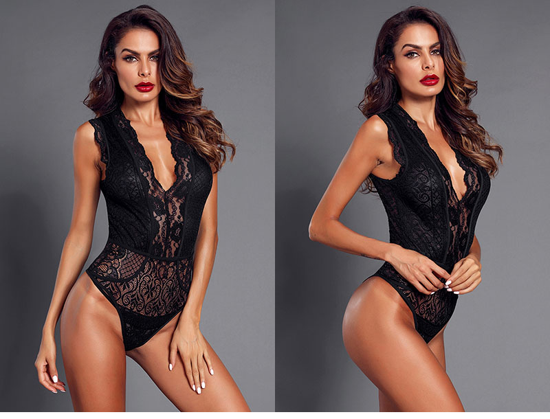 Black-V-Neck-Hollow-out-Lace-Bodysuit-LC32247-2-6