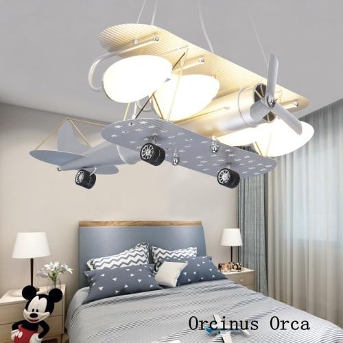 Modern Creative Silver Aircraft Chandelier Boys'Bedroom Children's Room Light Cartoon Cute LED Fighter Chandelier