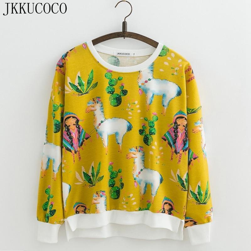 JKKUCOCO Women Sweatshirt Batwing Long Sleeve O neck Cotton Pullovers Print Flowers Casual sweatshirts Women Hoodies