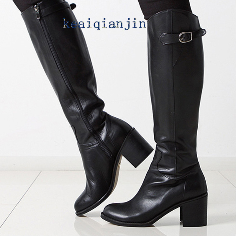 ФОТО LOVEXSS Genuine Leather Knee-High Boots 2016 Winter High Quality Fashion Black Buckle Boots Large Size 34 - 43 High Heels Boots