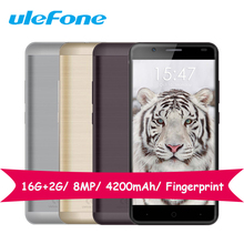 Ulefone Tiger MT6737 Quad Core 1.3GHz Smartphone 16G ROM 2G RAM 5.5 Inch Android 6.0 Mobile Phones 4200mAh Fingerprint 8.0MP