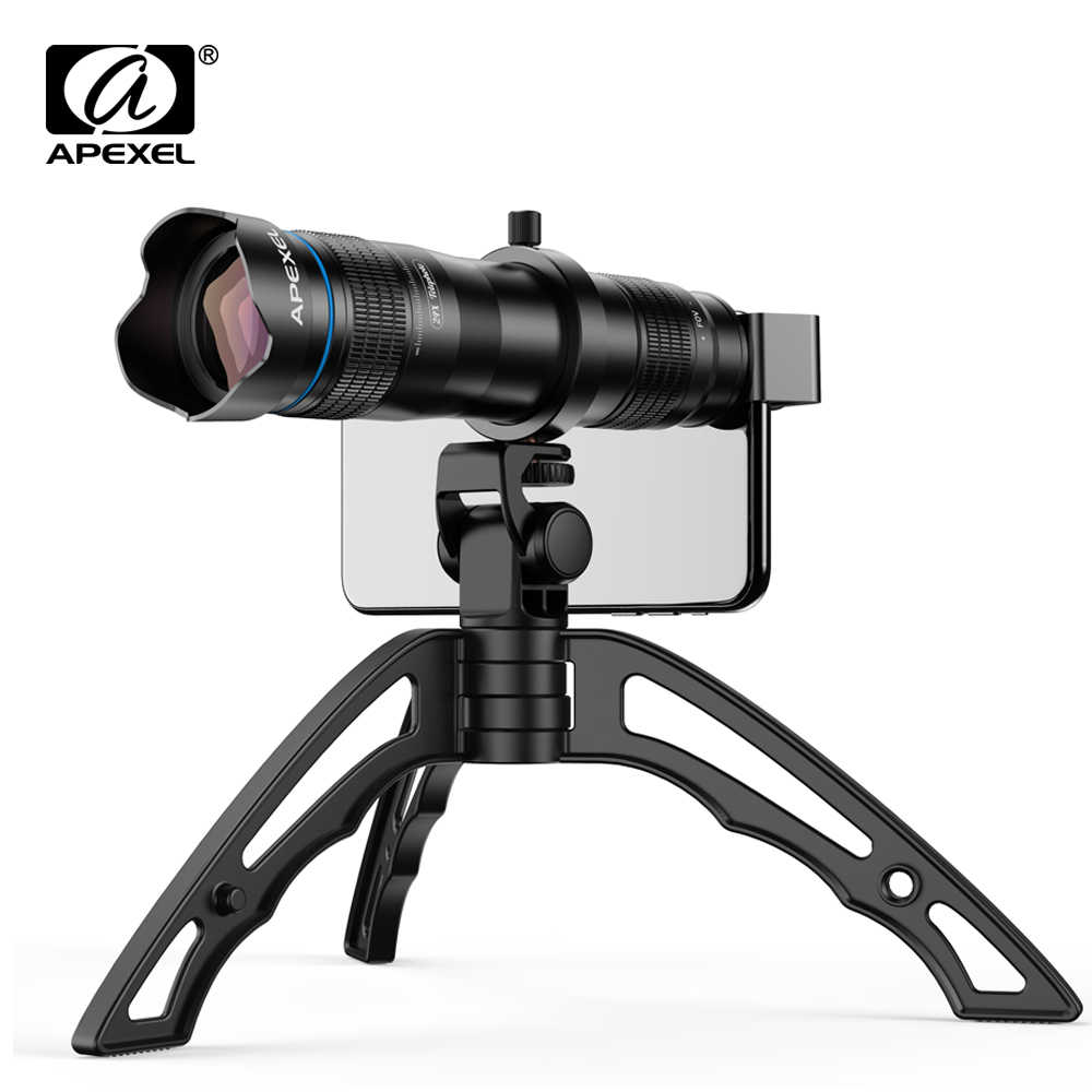 APEXEL Optional HD 36X metal telescope telephoto lens monocular mobile lens+ selfie tripod for Samsung Huawei all Smartphones