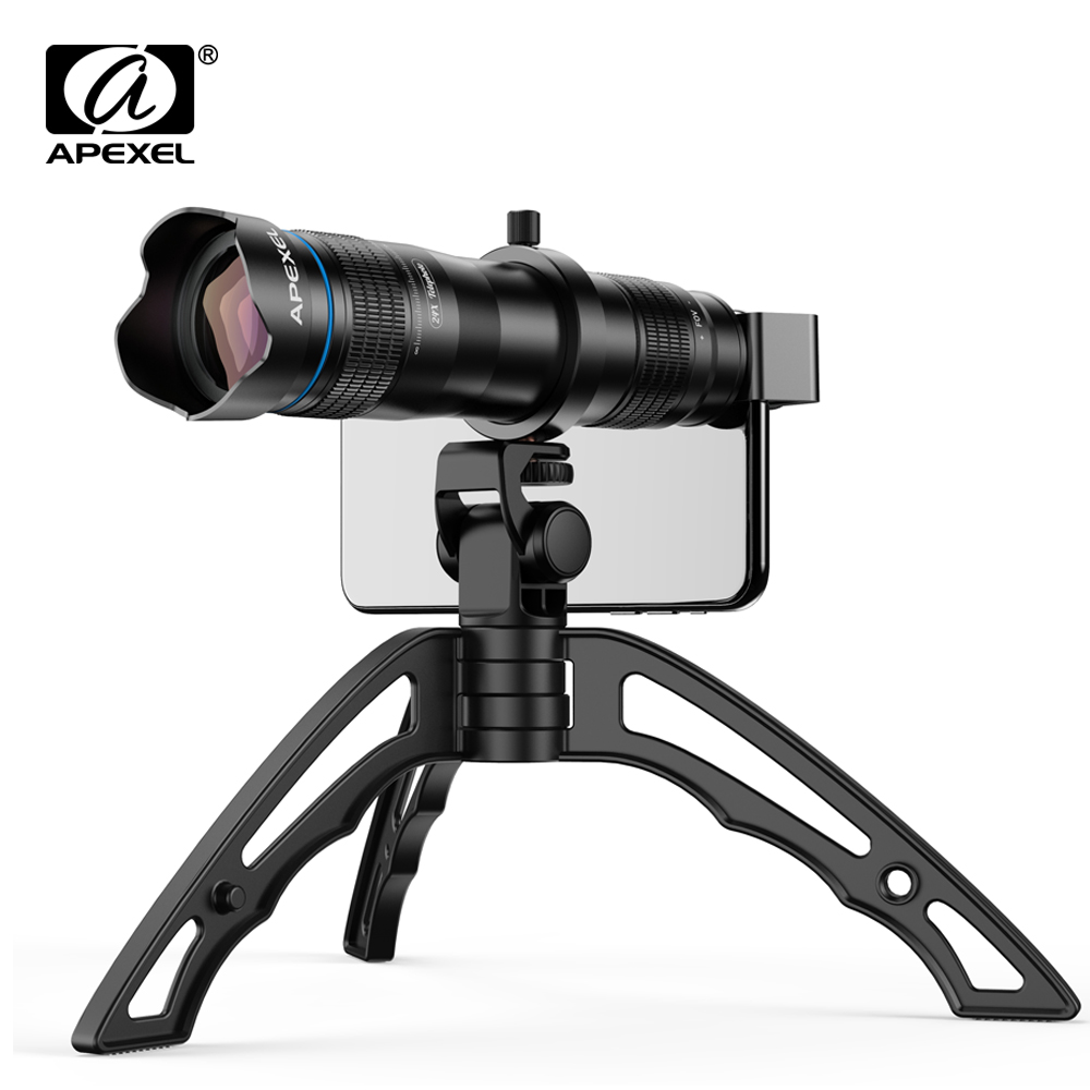 APEXEL Optional HD 36X metal telescope telephoto lens monocular mobile lens+ selfie tripod for Samsung Huawei all Smartphones-in Mobile Phone Lens from Cellphones & Telecommunications