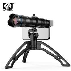 Apexel opcional hd 36x metal telescópio telefoto lente monocular móvel + selfie tripé para samsung huawei todos os smartphones