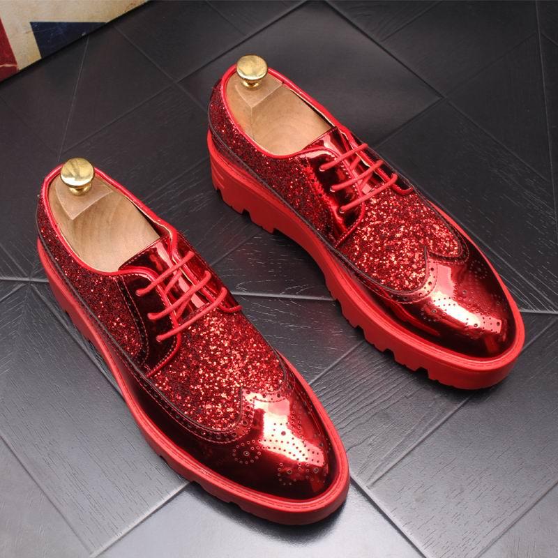 Errfc 새로운 도착 럭셔리 남자 레드 brouge 신발 패션 앞으로 디자이너 반짝이 블링 남자 동향 레저 신발 두꺼운 바닥 43-에서남성용 캐주얼 신발부터 신발 의  그룹 1