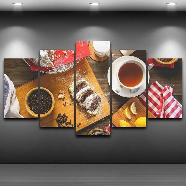 US $5.93 40% di SCONTO|Quadri su tela Cucina Arte Della Parete Complementi  Arredo Casa Ristorante Cornice 5 Pezzi di Frutta Alimenti Torta di Caffè ...