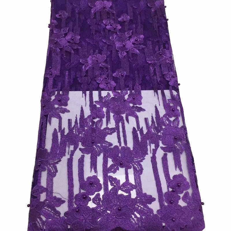 2019 dernières dentelles nigérianes tissus de haute qualité lacets africains tissu pour robe de mariée Tulle français dentelle avec perles bleu ciel