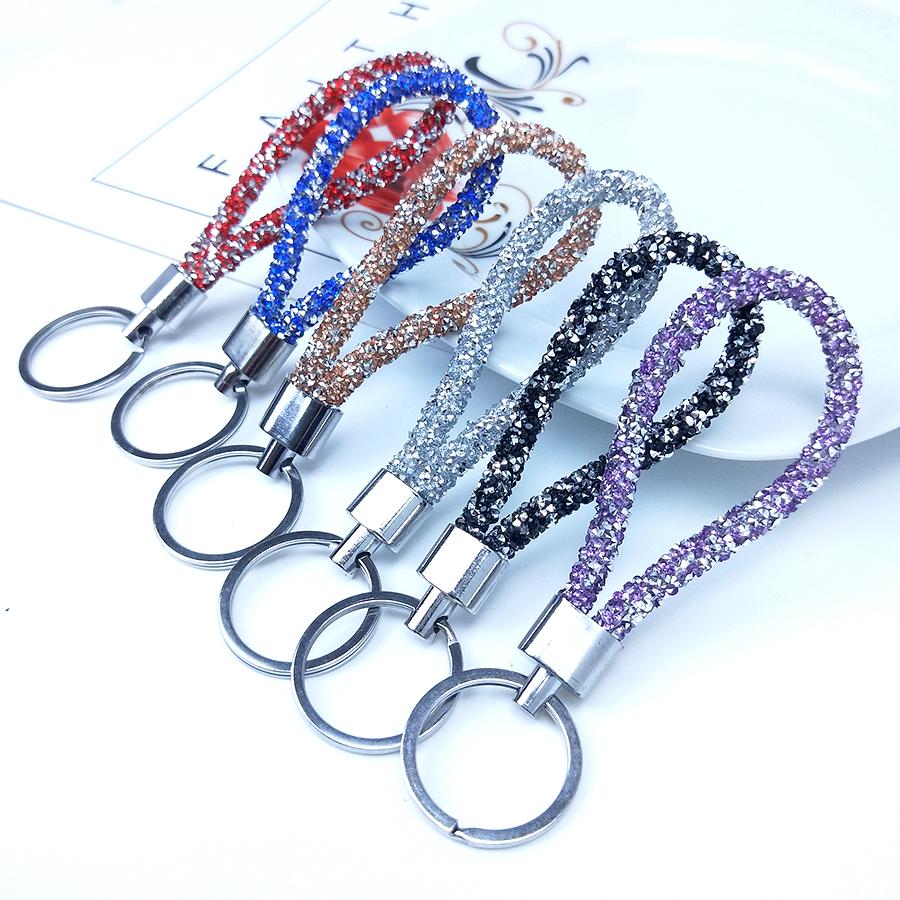 Colorful Candy Colors Sparkling Crystal PU Leather Rope Keychain For Couples Women Men Girl Car Bag Accessories Gift Keyring
