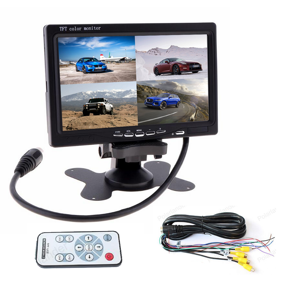 цена на 7 Inch TFT LCD Car Monitor 4 Ch Video Input For Rear View Camera DVD GPS With Remote Control 800X480 Headrest Display