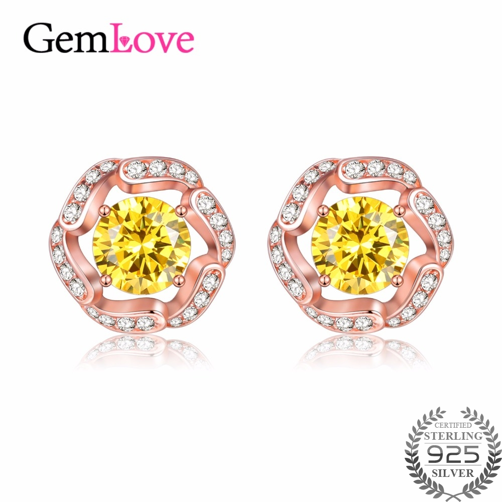 16bc7fccc Gemlove Citrine Earrings Flowers 925 Sterling Silver Jewelry Rose Gold  Plated Stud Earrings for Girls Earings with Box 40% FR008-in Earrings from  Jewelry ...