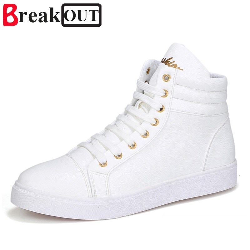 Break Out New Fashion Men Boots for Men Ankle Boots High Top Lace Up Breathable Leather Boots Casual Men Shoes