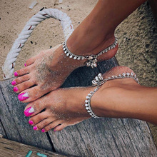 BeautyWay Bohemia Silver Gold Sequins Bell Tassel Anklets for Women Summer Beach Barefoot Anklets Foot Chain Party Gifts T5221