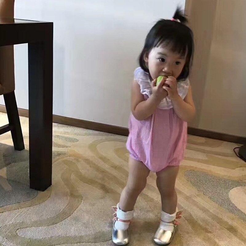 High Quality Baby Girls Summer Bodysuits Children 100% Cotton Clothes 0-24M Double-layers Collar Plaid Jumpsuit Kids Infant Romp