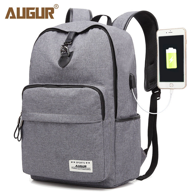 AUGUR Fashion Brand Backpacks Anti thief USB Charging Men Women Casual Bag  Travel Teenager Student School Laptop Back pack-in Backpacks from Luggage    Bags ... 7991059379dac