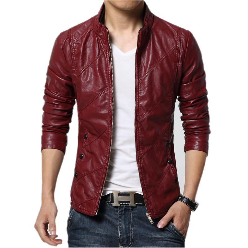 New Fashion PU Leather Jacket Men Black Red Brown Solid Mens Faux Fur Coats Trend Slim