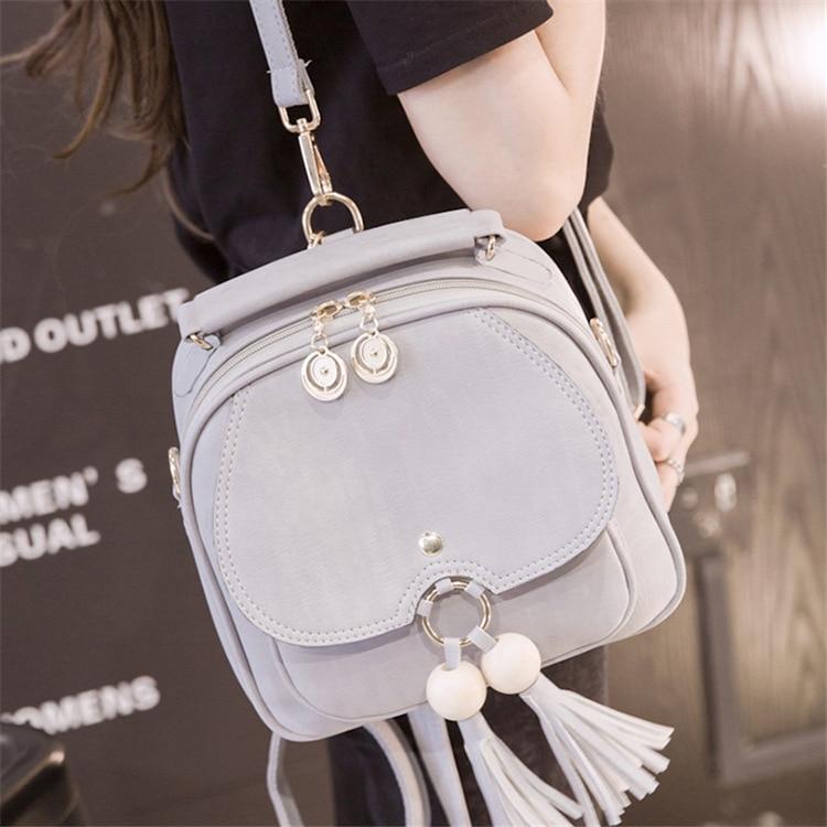 2017 new Korean women shoulder bag mini tassel small backpack multi-functional female bag tassel bag backpack 2018 korean new