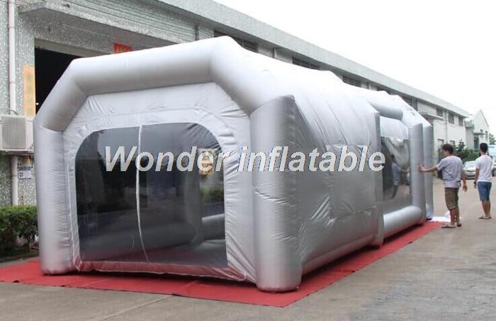 Přenosný šedý přenosný stan 8m x 4m x 3mH obří nafukovací stříkací kabina