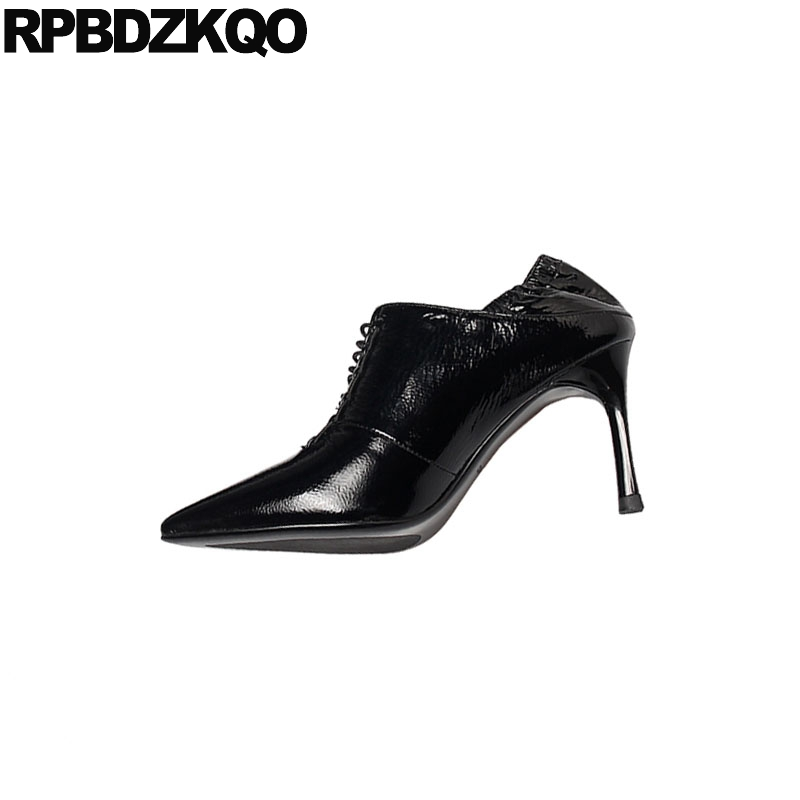 Black Genuine Leather Pointed Toe Handmade Scarpin Lace Up Fashion Shoes 2019 Luxury Women High Heels Ladies Pumps Patent 8cm - 3