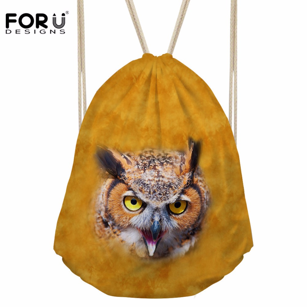 FORUDESIGNS Men's 3D Owl Printing Drawstring Bag Teenagers Fashion Storage Pocket For Boys Cool School Rucksack Bolsos Mujer