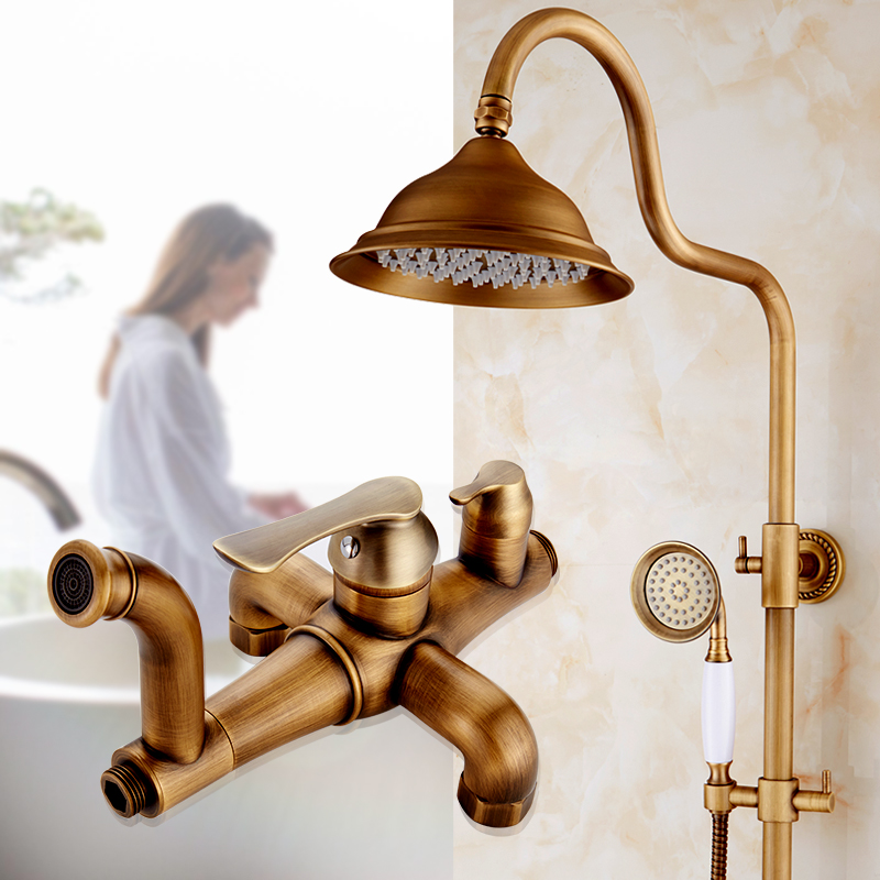 European Antique bathroom brass waterfall rain shower faucet set,Wall mounted shower faucet mixer water tap set with shower head  luxury bathroom rain shower faucet set antique brass handheld shower head two ceramics lever bathtub mixer tap ars003