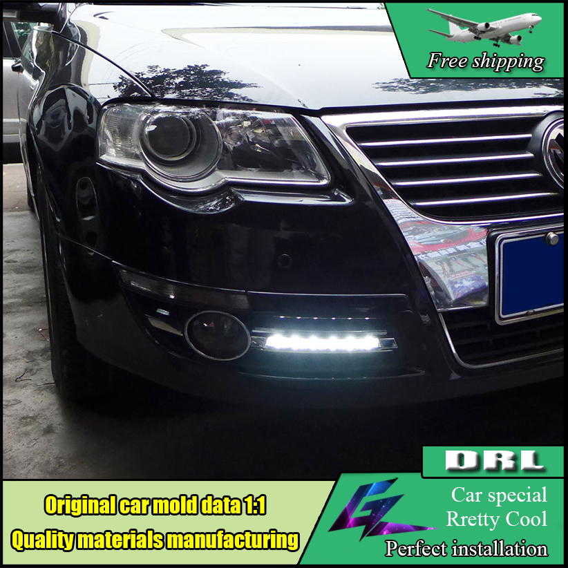 Car styling LED Daytime Running Lights For Volkswagen VW Passat B6 2007 2008 2009 2010 2011 DRL Fog lamp cover driving lights car rear trunk security shield cargo cover for volkswagen vw golf 6 mk6 2008 09 2010 2011 2012 2013 high qualit auto accessories