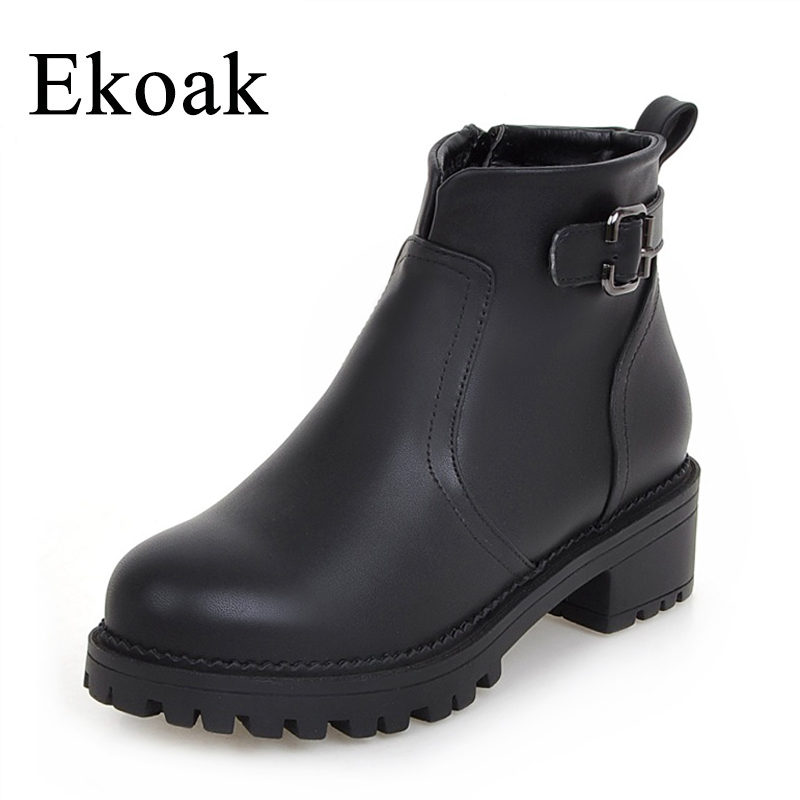 Ekoak New 2017 Autumn Fashion Leather Boots Women Flats Ankle Boots Casual Round Toe Buckle Zip Martin Boots Size 36-43 yanicuding round toe women flock ankle booties metal short boots zip design luxury brand fashion runway star autumn shoes flats