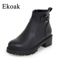 Size 34 43 New 2016 Winter Fashion Leather Boots Women Flats Ankle Boots Casual Round Toe