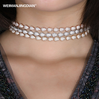WEIMANJINGDIAN Brand Top Quality AAA Cubic Zirconia Pave Setting Water Drop Choker Necklace For Women