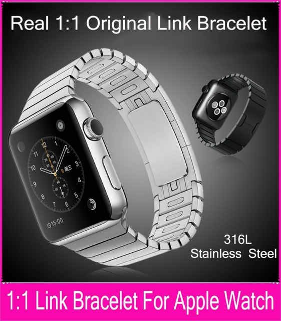 1:1 Original Stainless Steel Link Bracelet Band For Apple Watch 42mm 38mm Remove Links Without Any Tools Fit For Series 1 & 2