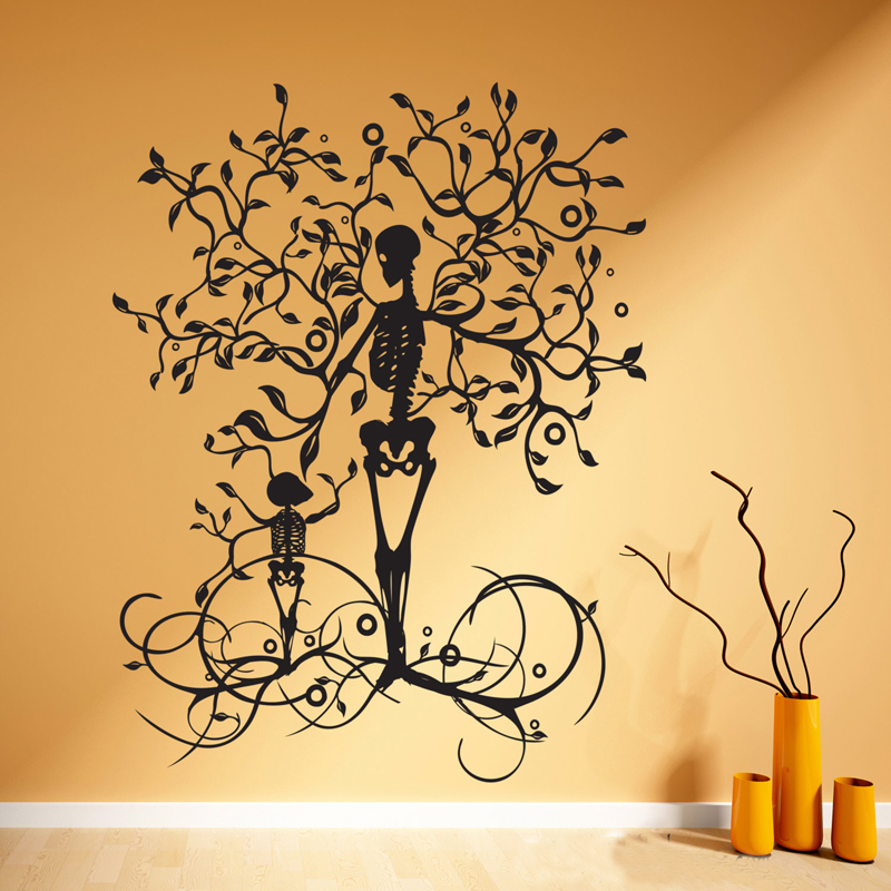 Halloween decoration skeleton tree wall decal vinyl tree of life wall decal wall art living - Apliques decorativos para paredes ...