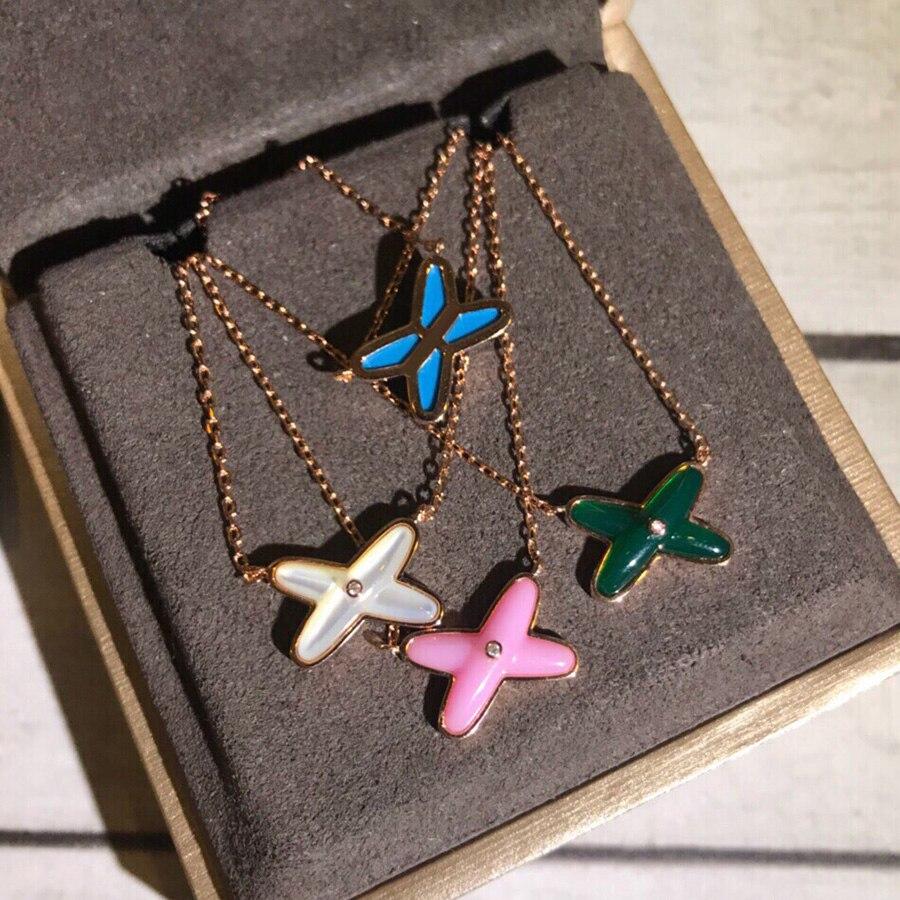 4b524258807e Moda caliente marca clásica 925 Plata de Ley blanco rosa azul verde  colgante collar cadena joyería ...