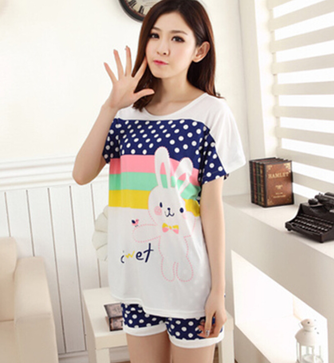 Summer Girls Pajamas shorts cartoon cute carrot rabbit suit home wear pajamas  women nightwear ladies pajama sets clothing-in Pajama Sets from Underwear  ... 596f2d1e6